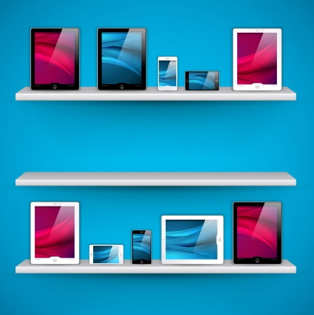 shelf with books: vector shelves with devices - great design elements for your application or website