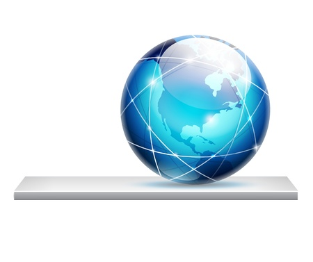 globe on a shelf - global connections concept Stock Vector - 14176257
