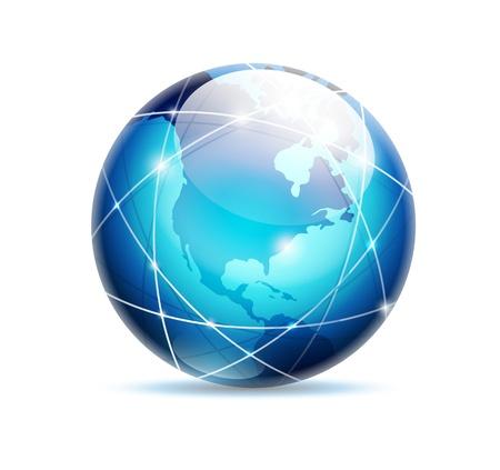 globe - blue glossy icon isolated on white background - United States side