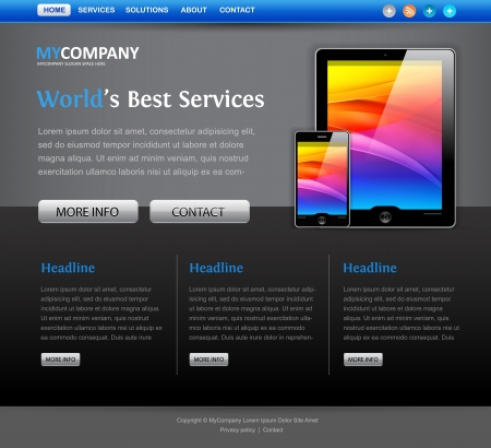 Web site design template met tablet computer iconen Stockfoto - 14176247