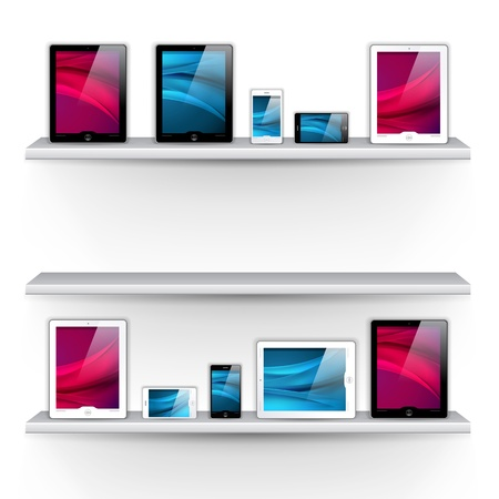shelves with devices - great design elements for your application or website Vectores