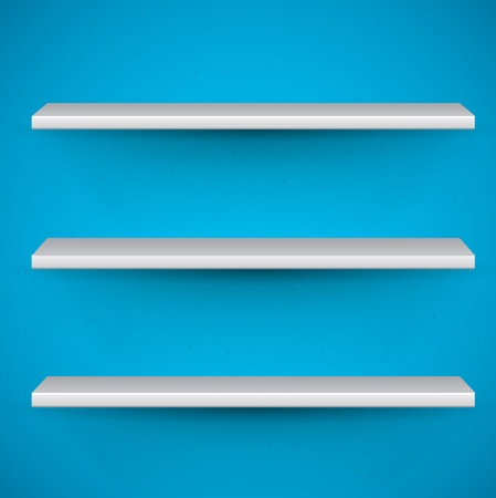 book shelves: empty book shelves on blue background - template