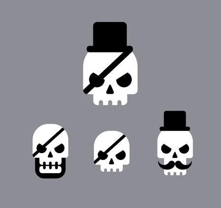 Skull logo pirate vector icons set Vector
