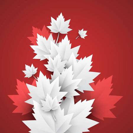 leaves - white paper leaves on red background Vector