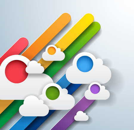 abstract colorful background with rainbow stripes and white clouds - unusual illustration - vector Vector