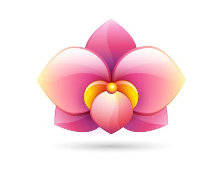 bloem logo - roze orchidee bloem vorm - vector pictogram op een witte achtergrond