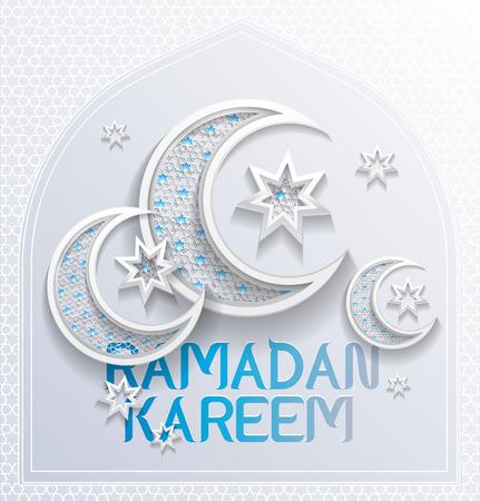 ramadan background greeting card - platinum and blue colors - illustration Stock Illustratie