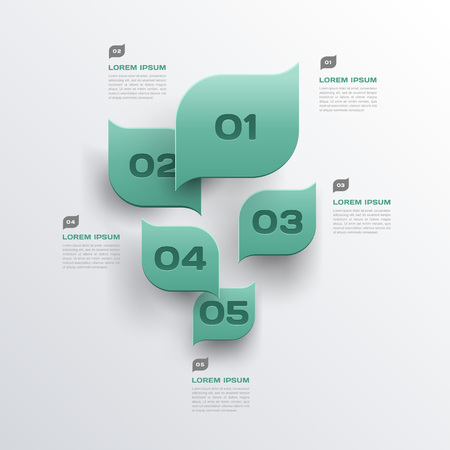 brochure design: green leaves abstract background - 3d paper infographics design - vector Illustration