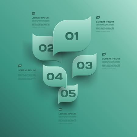 vector environmental design trend - infographics with green leaf Illustration