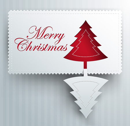 christmas greeting card - paper art - silver and red colors Vector