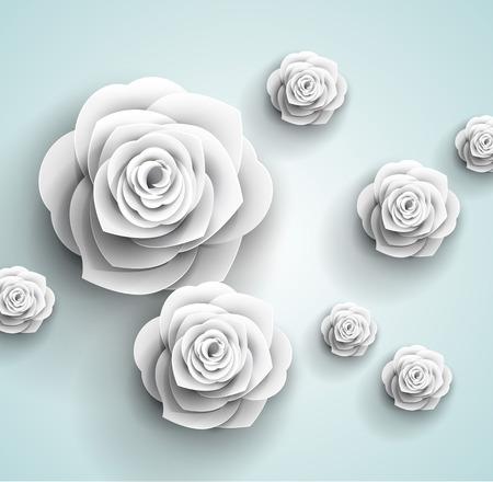 flores retro: flores de fondo - papel origami 3d - hermosas rosas tarjeta de felicitaci�n