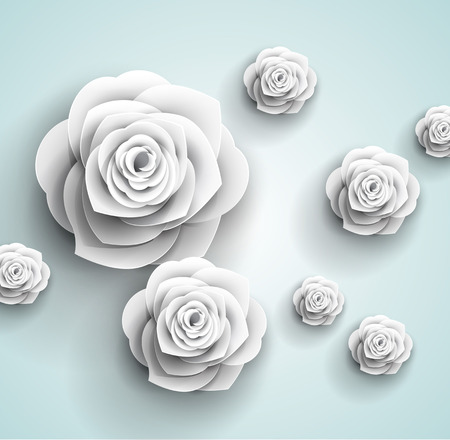 paper art: flowers background - 3d paper origami - beautiful roses greeting card Illustration