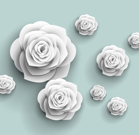 groen behang: 3d papier rose bloemen - vector abstracte achtergrond Stock Illustratie