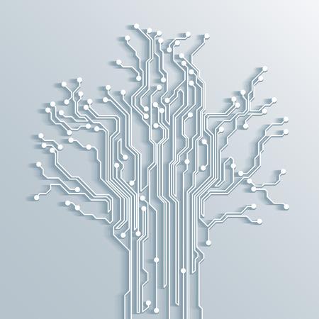 white abstract: 3d circuito albero - vettore