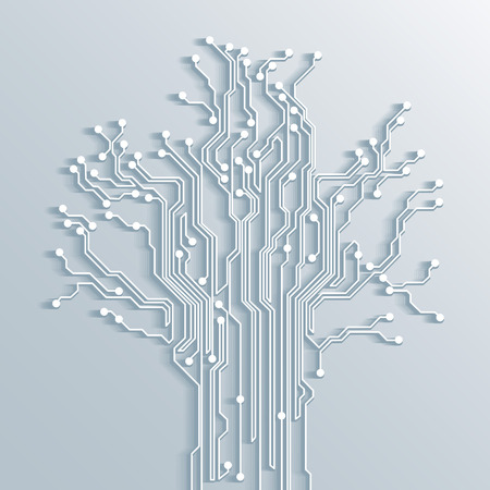 motherboard: 3d tree circuit board background - vector