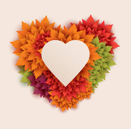 heart shaped floral leaves background Vector