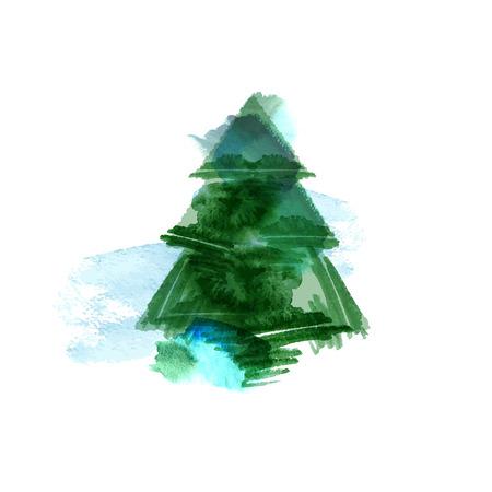 groen behang: kerstboom aquarel geïsoleerd op een witte achtergrond