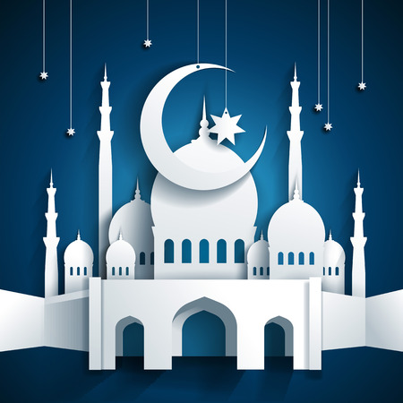 hari raya: 3d mosque and crescent moon with stars - Ramadan Kareem or Ramazan Kareem background - paper craft style - vector Illustration