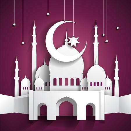 Ramadan background with 3d paper mosque - hari raya - vector illustration