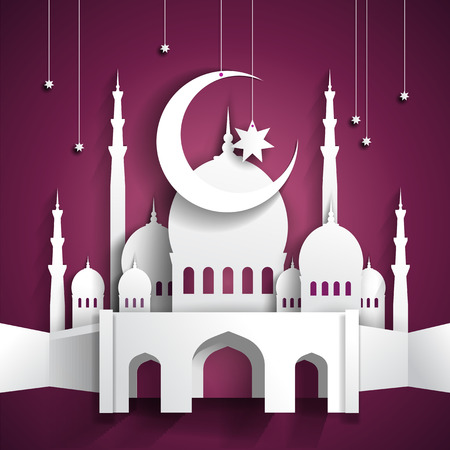 hari raya aidilfitri: Ramadan background with 3d paper mosque - hari raya - vector illustration