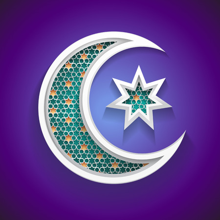 islamic background for ramadan - 3d crescent moon and star icon with arabic style pattern - great graphic for Ramadan backgrounds design - vector illustration