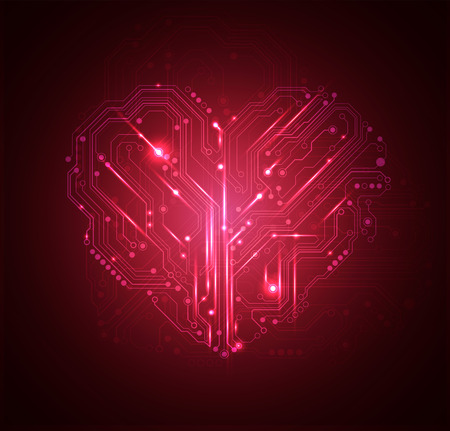 heart background: circuit board heart background