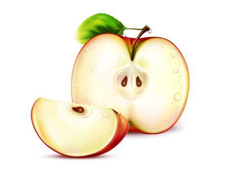 apple slice: apple slice icon on white background Stock Photo