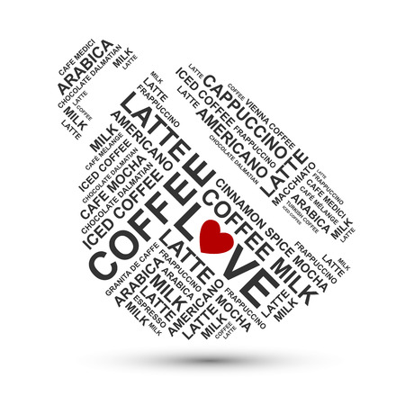words cloud: cup of coffee typography words cloud Stock Photo