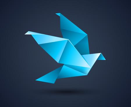 origami bird: origami bird abstract icon illustration