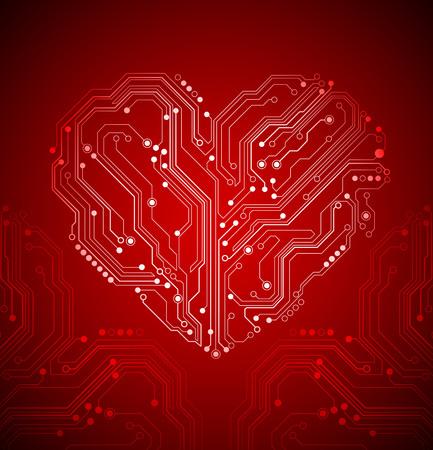 circuit board heart background