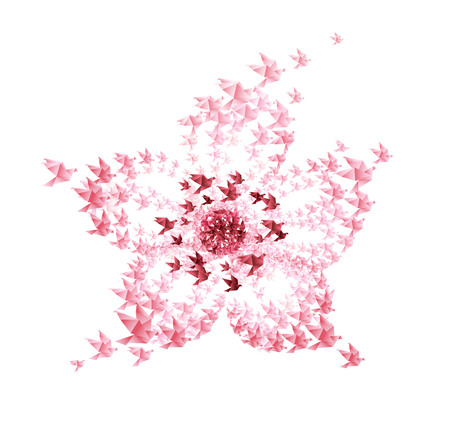 cherry blossom: cherry blossom flower origami shaped from flying birds