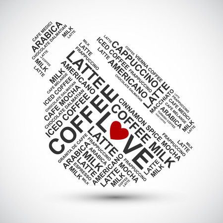 cup of coffee typography words cloud - vector background