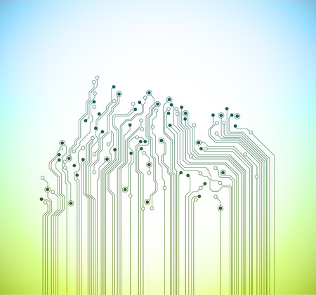 printed: abstract technology spring background - blue and green colors