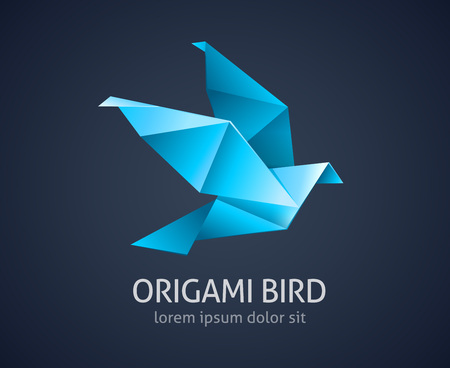 origami bird: origami bird abstract icon illustration
