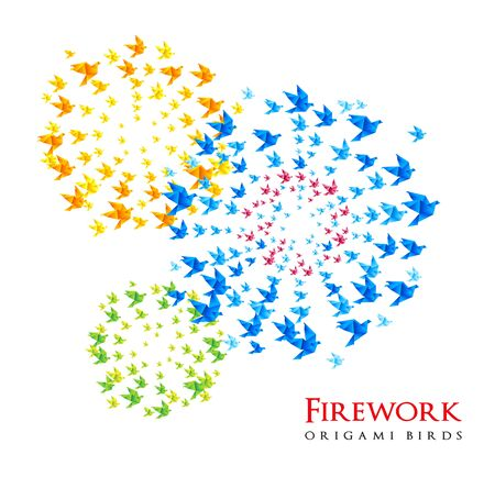 shaped: fireworks origami shaped from flying birds