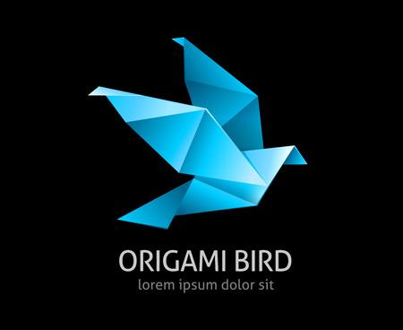 origami oiseau: origami oiseau abstrait ic�ne illustration