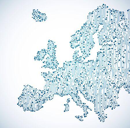 mapa de europa: placa de circuito europa mapa de fondo azul