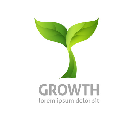 plant growth: green design - growing plant - growth illustration