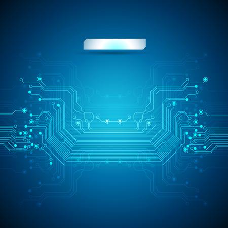 circuito electrico: placa de circuito de fondo azul Vectores