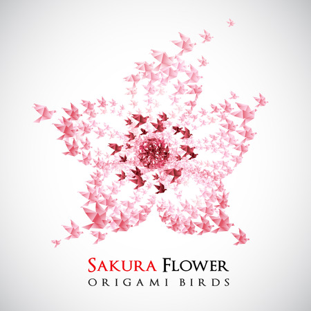 spring in japan: flower origami shaped from flying birds