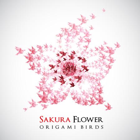 origami bird: flower origami shaped from flying birds
