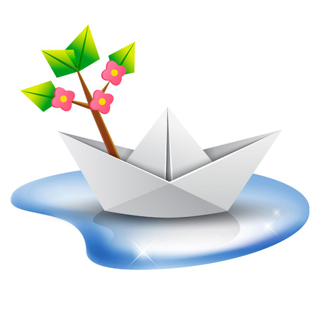 paper boat: origami paper ship with a green tree illustration. Paper boat with a blossom tree branch aboard sailing in a puddle of water