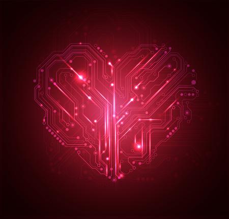 回路基板の心の背景 ベクターイラストレーション