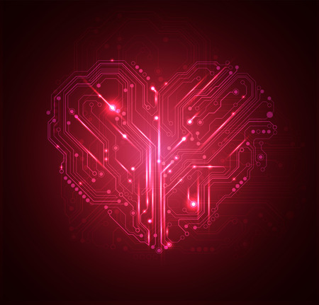 connects: circuit board heart background