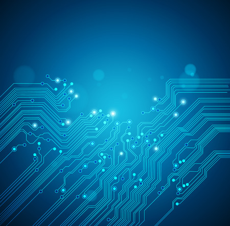 electronic circuit: circuit board blue background Illustration