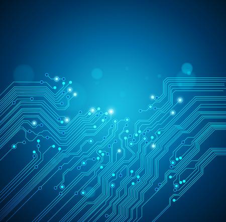 circuitos electricos: placa de circuito de fondo azul Vectores