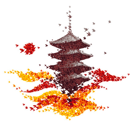 temple: castle origami autumn landscape - abstract background vector Illustration