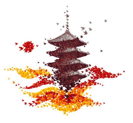 castle origami autumn landscape - abstract background vector Stock Illustratie