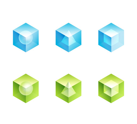 abstract business logo set. cube vector icons shapes design - blue and green color Çizim