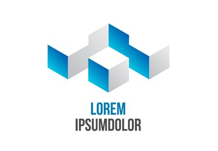 abstract building: business logo design in abstract 3d geometric shape icon Illustration